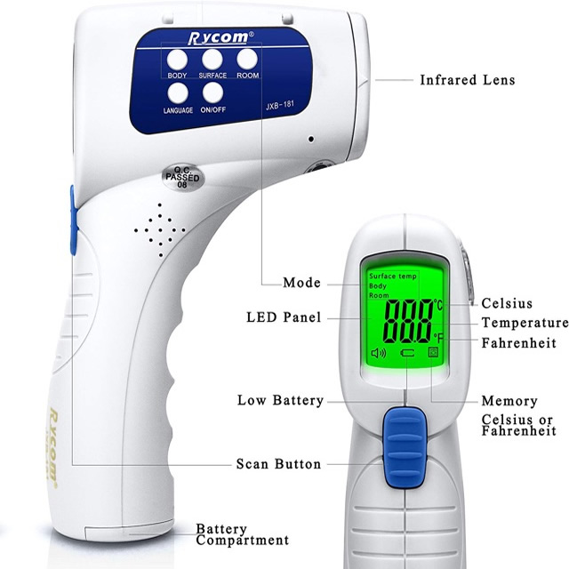 rycom non contact infra red forehead thermometer