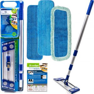 • Micro fiber mop • Professional quality, great for cleaning the home or office. Get your hardwood, laminate, tile, stone, vinyl, and concrete floors clean in a fraction of the time with less effort! • Included: (2) Microfiber Wet Mop Pads, (1) Microfiber Dust Mop Pad, (1) 6' Adjustable Stainless Steel Mop Handle, (1) Heavy Duty Aluminum Mop Frame. NEW: Also included are 2 FREE Premium Microfiber Cloths! • Our microfiber mops clean more thoroughly and more effectively than cotton mops. They're machine washable, much more economical than disposable products. Detailed use and care instructions included. • Use the Microfiber Dust Mop to collect larger debris like pet hair, dirt and dust. Use the Wet Mop Pads for a deeper clean. Microfiber cleans more quickly and thoroughly than other cleaning products. Replacement Mops are available. • Make mopping easy! Unlike alternative sponge, string, spin, twist, spray mops, etc. Microfiber flat mops require no bucket and the mop heads are easy to wash and reuse. Start cleaning like a pro ORDER TODAY