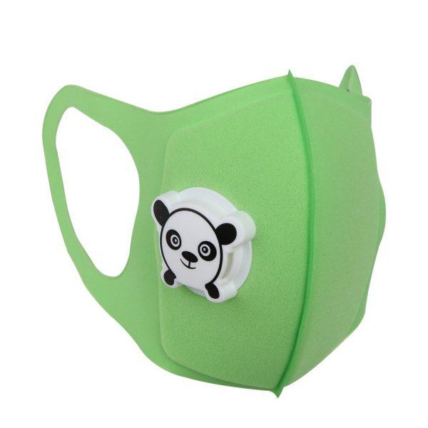 green reusable kids face mask