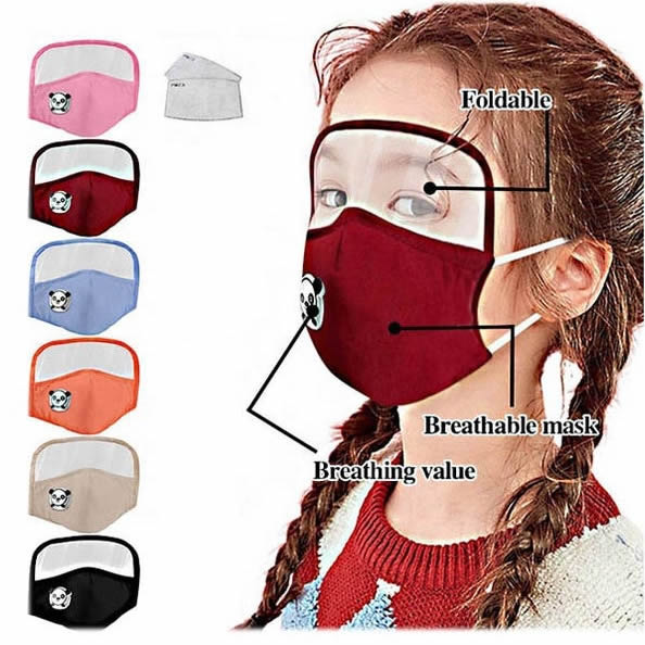kids facemask with face shield